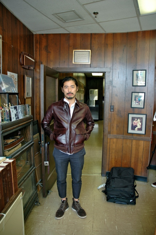 Hiroki in a Chromexcel Jacket - great design on the pockets, and the burgundy is special.