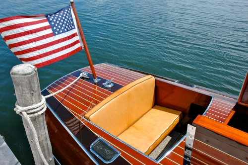 Varnished mahogany, a stiff breeze, Old Glory, and, of course, Horween Leather Seats.