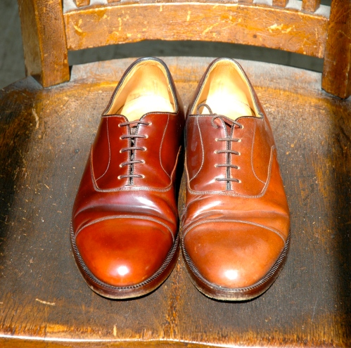 The lightened shoes, now polished.