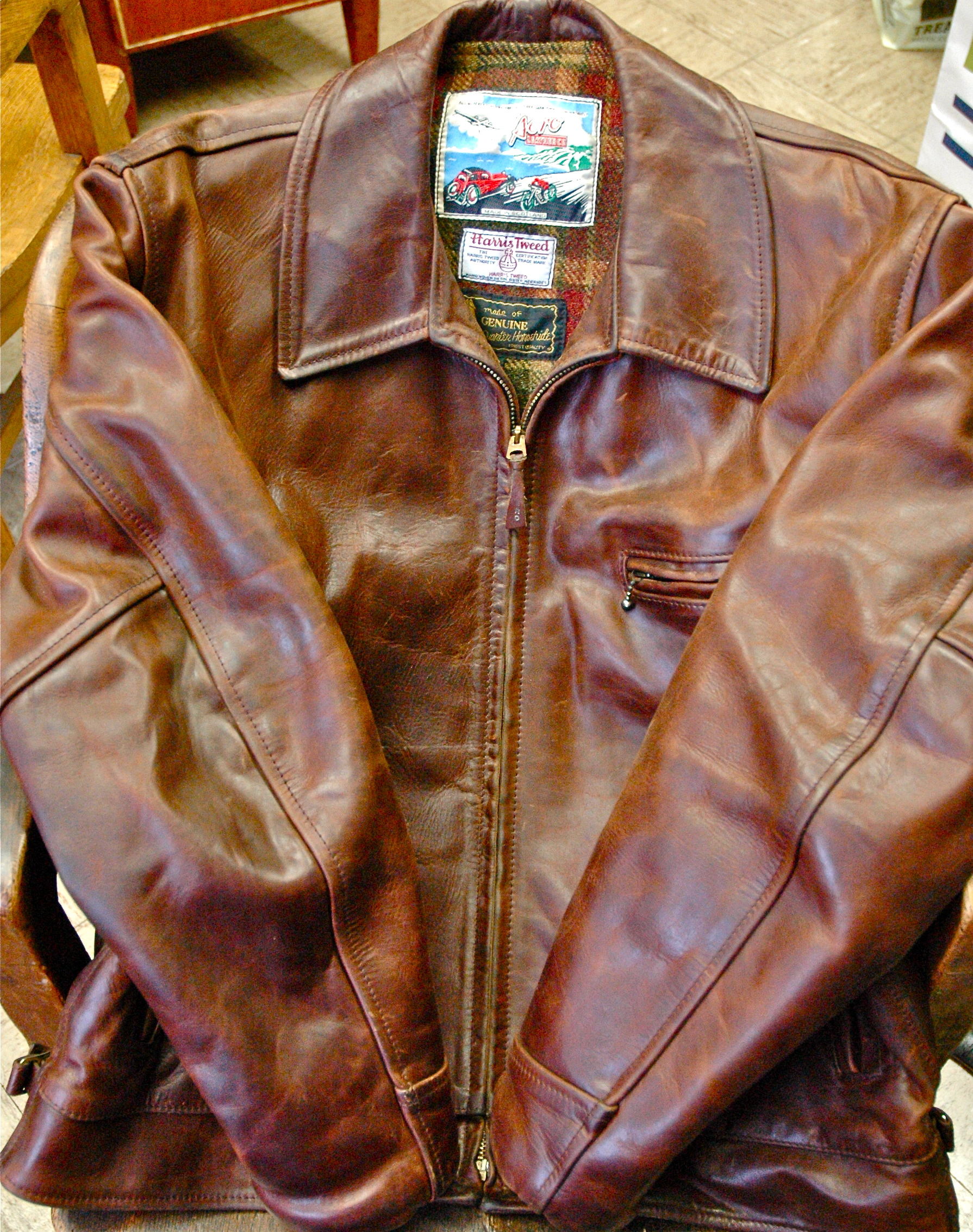 Aero Leather Chromexcel quarter horsehide jacket with Harris Tweed wool lining